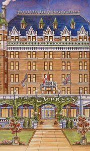 Painting by Barb Wood courtesy of The Empress Hotel. Vancouver Island's colonial daughter.