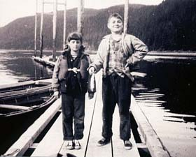 The author and his sister Mary on a fishing expedition in Alaska, circa 1950. (They didn't catch anything; that's the bait.) © Virginia Cobb, M.D.