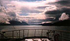 The Inside Passage from Vancouver, B.C. north to the Panhandle of Alaska is a series of channels carved by glaciers over the millennia. Some 10,000 heavily forested islands protect the sea-lane from the open Pacific.© John Stickler.