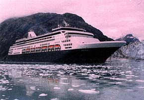 The ms Veendam spends the better part of a day cruising the spectacular fiords of Glacier Bay, north of Juneau. Photo courtesy of Image Photo Services.