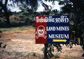 Copyright Victoria Brooks. The Land Mine Museum is not government funded but is the work of a gentleman who lost his parents to the Khmer Rouge when he was five years old. The director, Aki Ra, was a conscript in the Vietnamese army and laid mines in Cambodia's fields. Later he cleared them. His sad archive is located in Siem Reap opposite Wat Tmei Pagoda.