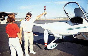 A student gets walked through a pre-flight check by an instructor. Courtesy of Diamond Aircraft Industries.