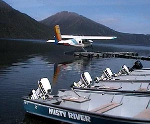 A float plane primed for takeoff on a glassy Yukon lake. Courtesy of Tincup Wilderness Resort, Yukon.