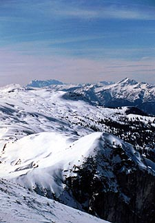 The alpine vista beckons to all winter sport enthusiasts. Copyright Jim Johnson.
