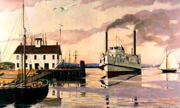 Painting by Richard Brooks, courtesy of the Connecticut River Museum. A steamer from the late 1800's arriving at Steamboat Dock to unload passengers and cargo.