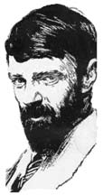 An illustration of D.H. Lawrence by Joseph Simpson. Every effort has been made to obtain permission to use this image as found in the out of print book The Country of My Heart by Bridget Pugh.