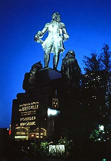 Courtesy of Louisiana Office of Tourism. The founder of New Orleans, Jean Baptiste Le Moyne de Bienville, presiding over his fellow ghosts.