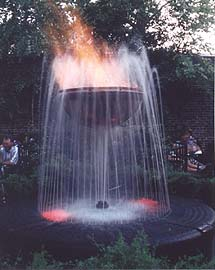 Courtesy of Pat O'Brien's Pub, New Orleans. The infamous flaming fountain.