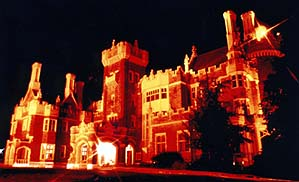 Courtesy of Tourism Toronto. At night, Casa Loma gleams in the darkness.