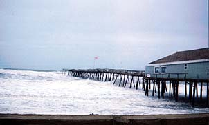 A gusty day the pier in North Carolina's Outer Banks