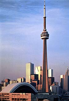 Courtesy of Ontario Tourism. The CN Tower slices the skyline of Toronto.