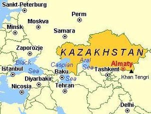Kazakhstan's location in Central Asia. Copyright: Rick Hudson.