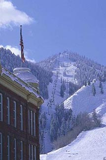Ajax Mountain overlooks the historic buildings of downtown Aspen. Copyright: Doug Child.