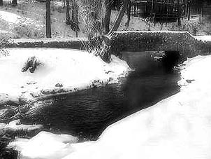 A footbridge beckons walkers, even in the winter months. Photo courtesy of Seven Pines Lodge.