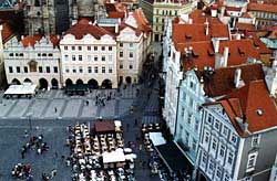 Writer Franz Kafka lived most of his life in and around Prague's Old Town Square. Copyright Kathryn Means.