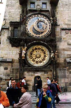 This ancient astronomical clock and circular calendar with the signs of the zodiac fired the young Kafka's imagination as he watched it from his window. Copyright Kathryn Means.
