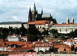 St. Vitus Cathedral, site of one of the most famous scenes in Kafka's book The Trial, looms over Prague Castle. Copyright Kathryn Means.