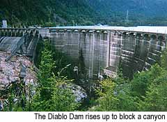 The Diablo Dam rises up to block a canyon. My car is the red speck on the left side of the dam.