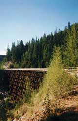 A trestle (with handrails) in Myra Canyon.  © Tyson Brooks