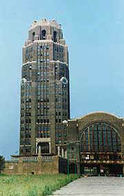 The clocks on Buffalo's Central Terminal have been restored and lighted, but there is a long way to go. © Eric Miller