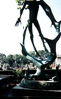 Skeletal figures atop the Buchenwald monument are a grim reminder of the Holocaust. Copyright: Kathryn Means