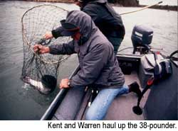 Kent and Warren haul up the 38-pounder. © Warren Lieb, 1999