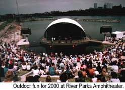 Outdoor entertainment for 2000 at River Parks Amphitheater. Credit: Courtesy of Tulsa Chamber of Commerce