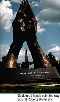 Sculptured hands point the way at Oral Roberts University. Credit: Courtesy of Tulsa Chamber of Commerce
